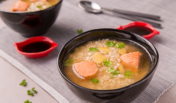Asian Soup with Salmon and Rice