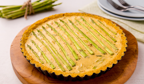 Cornmeal Tart with Asparagus and Soft Cheese