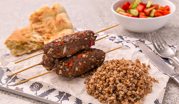 Mutton Kebabs with Buckwheat