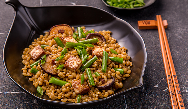 Pearl Barley, Tofu, Green Beans and Shiitake Salad