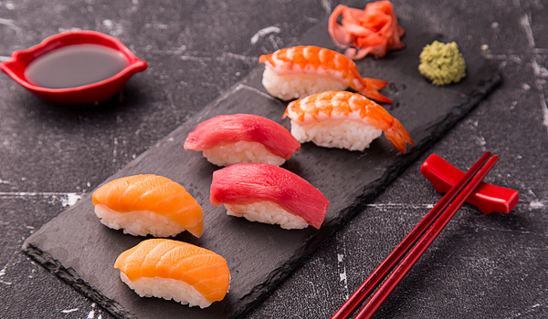 Salmon, Tuna and Shrimp Sushi