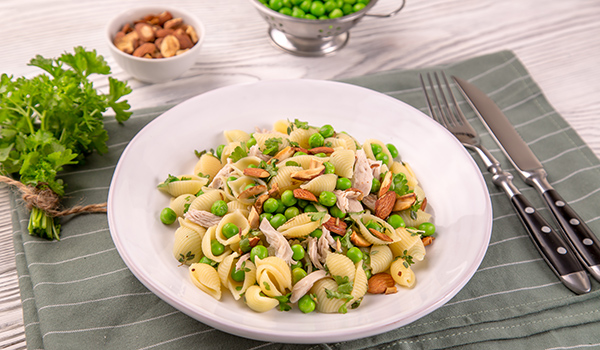 Pasta Salad with Chicken, Green Peas and Almonds