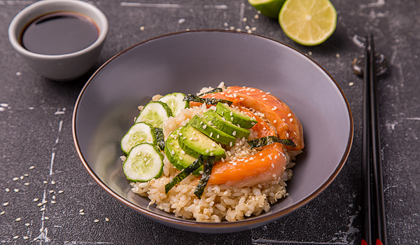 Smoked Salmon with Avocado and Rice the Japanese Style