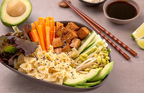 Asian Pasta Salad with Avocado and Tofu